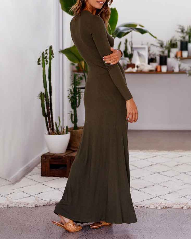 Wild Sexy Split Long-Sleeve Solid Dress