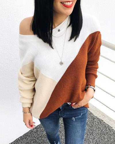 Weststylish Round Neck Loose Stitching Brown Sweater