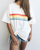 Weststylish Round Neck Loose Rainbow Striped Women's T-shirt