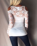 Lace Long Sleeve Off Shoulder Sexy T-Shirt