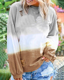 Weststylish Broken Hole Rainbow Gradient Print Long Sleeve Sweater