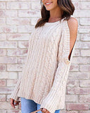 Weststylish Round Neck Long Sleeve Hanging Neck Strapless Twist Sweater