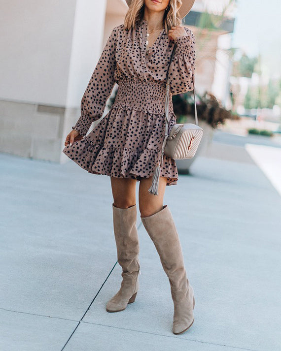 Weststylish Long Sleeve Spotted Mini Dress