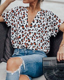 Weststylish V-Neck Leopard Print T-Shirt