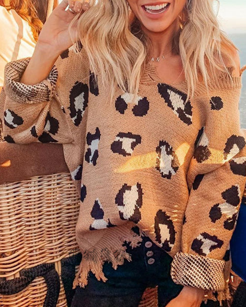 Weststylish Long Sleeve Leopard Knit Sweater