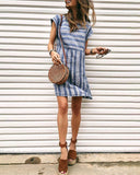 Weststylish Casual Striped Blue Mini Dress