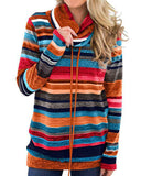 Weststylish Striped String Pocket Long Sleeve Sweatshirt