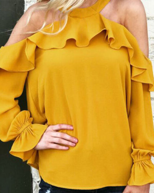 Weststylish Solid Color Ruffled Round Neck Long Sleeve T-Shirt