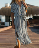 Weststylish Lace-Up Striped Dress