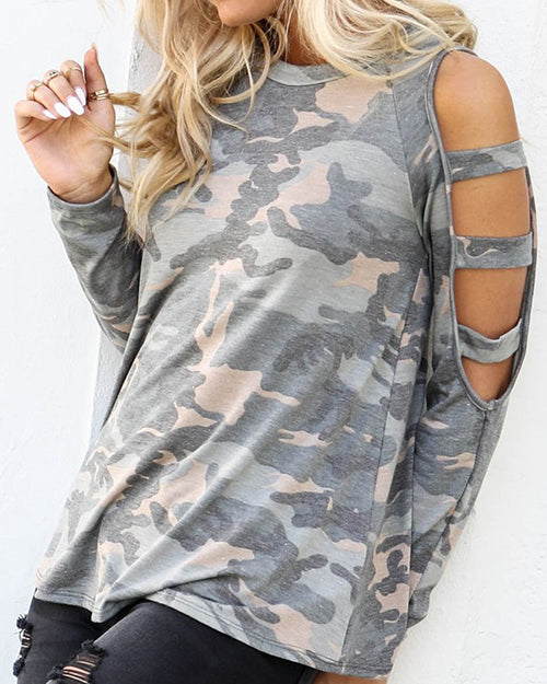 Weststylish Camouflage Round Neck Hole Long Sleeve T-Shirt