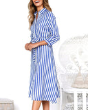 Weststylish Single-Breasted Lace-Up Stripe Dress
