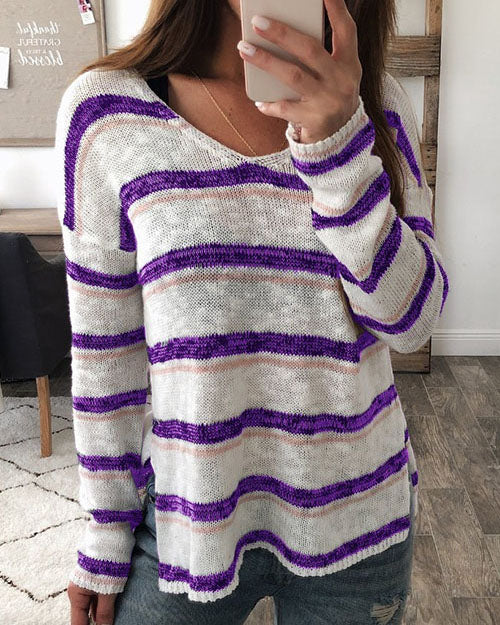 Weststylish Spring And Autumn V-Neck Split Long-Sleeved Striped Sweater
