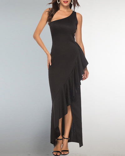 Ruffle One Shoulder Party Dress