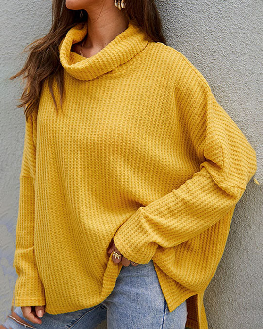 Weststylish Lapeled Solid Color Cardigan Loose Sweater