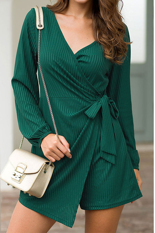 Weststylish Irregular V-neck Long-sleeved Straps Jumpsuit