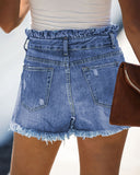 Light-Colored Mid-Rise Denim Shorts