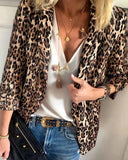 Weststylish Leopard-Print Suit Long-Sleeved Jacket
