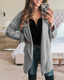 Weststylish Woolen Lapel Patch Pocket Long Sleeve Jacket