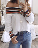 Weststylish Off Shoulder Neckline Striped White Shirt(2 Colors)