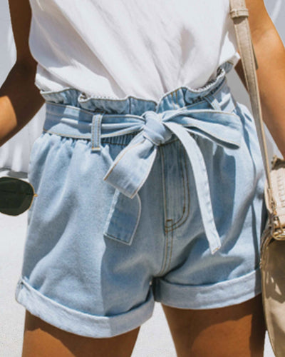 Weststylish Fashion Casual Ruffled Denim Shorts