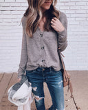 Weststylish V-Neck Long-Sleeved Grey Sweater
