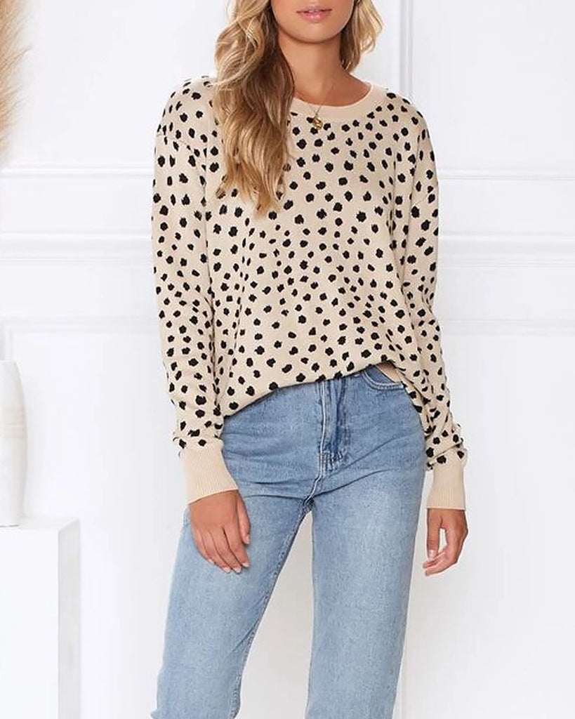 Weststylish Collar Loose Leopard Knit Sweater