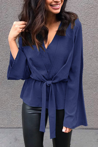 Weststylish Solid Color V-Neck Long Sleeve Loose Top