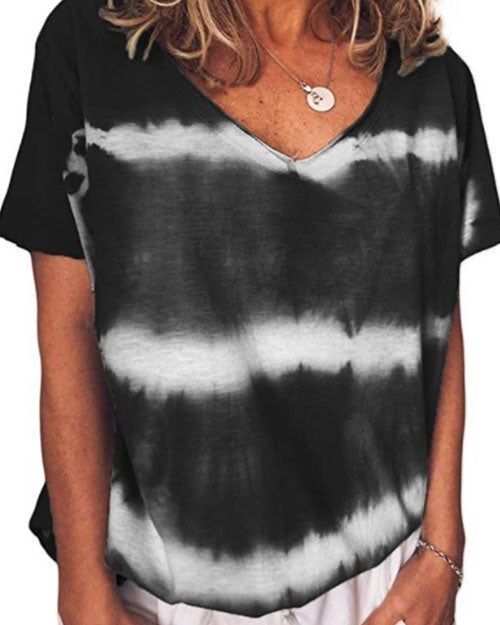 Weststylish Spring And Summer Fashion V-Neck Short-Sleeved Tie-Dyed Casual T-Shirt