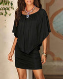 Weststylish Black Off The Shoulder Ruffles Overlay Design Mini Dress