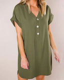 Weststylish Solid Color Linen Collage In Long Lrregular Dress