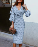 Weststylish V-Neck Wave Point Lantern Sleeve Dress