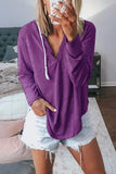 Weststylish V-Neck Solid Color Hoodie