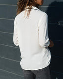 Weststylish Lapel Slim Chiffon Panel Long Sleeve Top