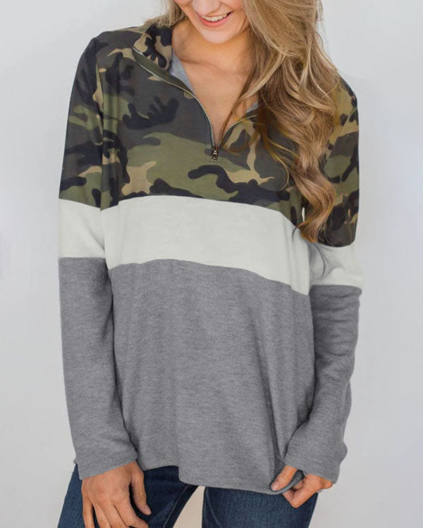Weststylish Camouflage Stitching Sweater