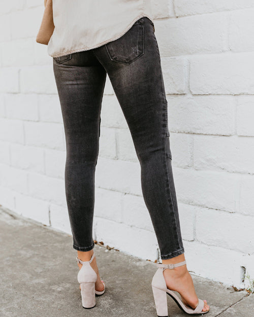 Weststylish Grey Piped Frayed Skinnies