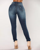 Weststylish Mid Waist Dark Blue Denim Zipped Jeans