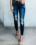 Weststylish Dark Holed Slim Jeans