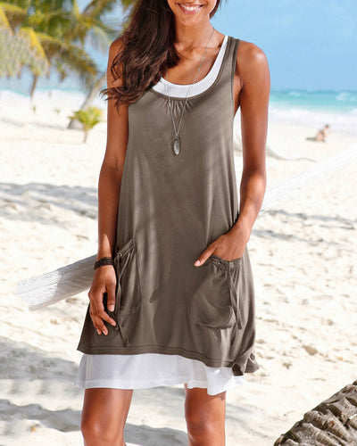 Sleeveless Two-Piece Vest Dress
