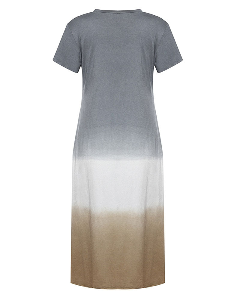 Weststylish Round Neck Short Sleeve Stitching Three-color Gradient Hanging Dyed Dress