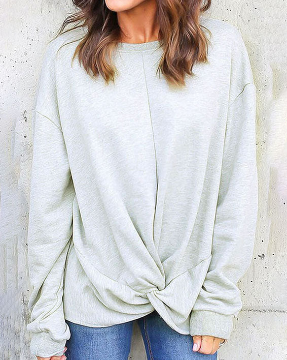 Weststylish O-Round Neck Solid Color Sweater
