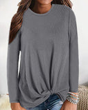 Weststylish Casual Crew Neck Waffle Knit T-Shirt(4 Colour)