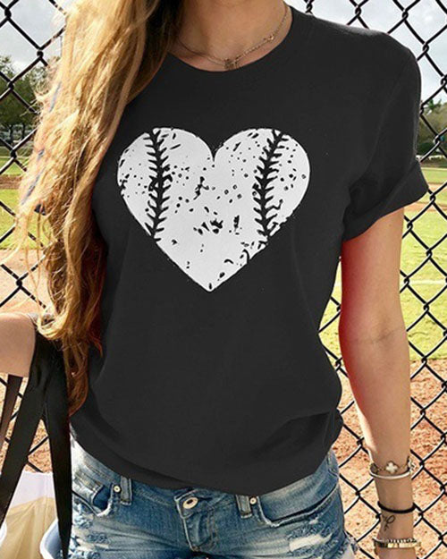 Weststylish Love Baseball Print T-Shirt