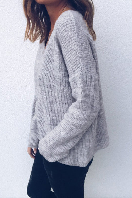 Weststylish V-neck Cardigan Button Long-sleeved Sweater