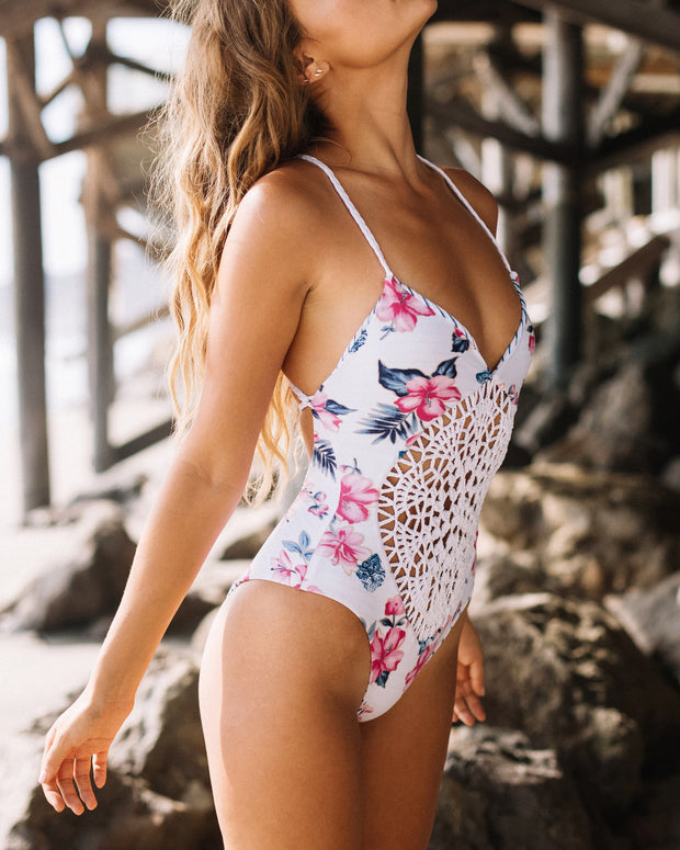 Sexy Crochet Print One-Piece Swimsuit