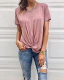Weststylish Knotted Round Neck Short-Sleeved T-Shirt