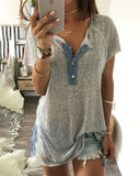 Weststylish Lapel Versatile Contrast Color Loose T-Shirt