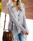 Weststylish Single-breasted Trumpet Sleeves Thin Loose Knit Cardigan