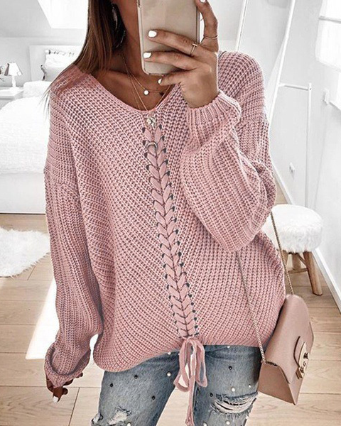 Weststylish Spring And Autumn Lace-Up Loose Sweater