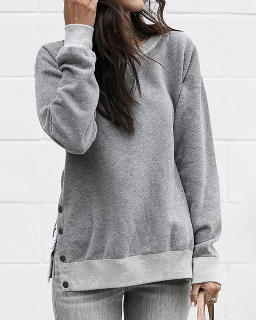 Weststylish Round Neck Button Long Sleeve Grey Hoodies