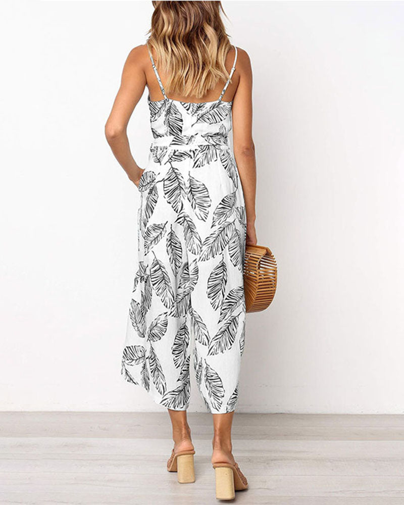 Weststylish Leaf Print Sling Jumpsuit